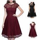 Housewife Vintage Style Lace 50'S 60'S Swing Pinup Elegant Cocktail Party Dress