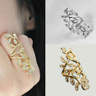 NE Trendy Luxury Gold Plated Crystal Long Branch Leaf Knuckle Wrap Finger Ring