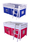 SHORTY Cabin Bed Mid sleeper Loft Bunk Kids Childrens Tents White Wooden Shorty
