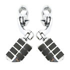 "For Harley 1 1/4"" Engine Guard Highway Foot Pegs Footrest + Short Angled Clamps image"