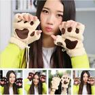 2016 Winter Women Mitten Fuzzy Half Finger Gloves Thick Bear's Paw Furry Mitts S
