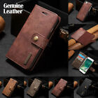 Genuine Cow Leather Removable Wallet Flip Card Case Cover For iPhone 6S 7 7Plus