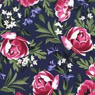 Michael Miller Bed of Roses Sapphire fabric - FQ Half Meter Sew FREE POST