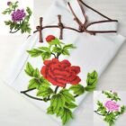 1PCS Large Embroidered Red/Pink/Purple Floral Sew Appliques Trim Lace Dress WT77