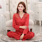 MASALING Women Girls Smooth Silk Pajamas Nightwear Set Long Sleeve Sleepwear