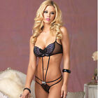 Ladies Leg Avenue Black Butterfly Sequin Strappy G-String All-in-one Teddy