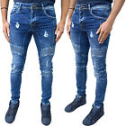 New Mens Designer Enzo Skinny Stretch Stylish Ripped Distress Denim Jeans Pants
