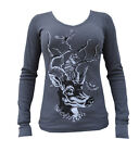 Women's Oh Deer by Nolan Newbury Antlers Long Sleeve V-Neck Gray Thermal Shirt