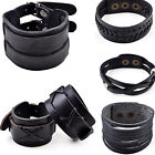 Men's Braided Genuine Leather New Stainless Steel Cuff Bangle Bracelet Wristband