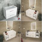 SONIX WHITE BATHROOM VANITY DRAWER CABINET with-out SINK TAP MIRROR STORAGE UNIT