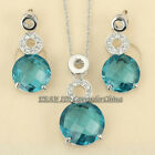 A1-S057 Fashion Simulated Gemstone Earrings Necklace Jewelry Set 18KGP Crystal