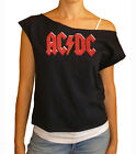 "AC/DC ""Logo"" women's cropped  raw edge off-shoulder top"