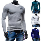 Fashion Men's Slim Fit Cotton Shirts V-Neck Long Sleeve Casual T-Shirt Tee Tops