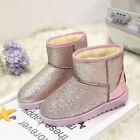 Girl & Womens Winter Warm Ankle Snow Boots Sequins Slip on Plush Causal Shoes