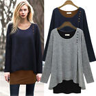 Plus Size Stylish Women Fake Two-piece Tops Casual Loose Slim Scoop Neck T-shirt