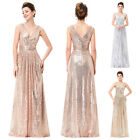 2016 Formal Long Sequin Evening Party Pageant Bridesmaid Prom Dress Wedding Gown