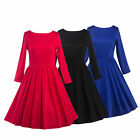 Hot Women Solid Color Long Sleeve Slim Bodycon Swing O-Neck Evening Party Dress