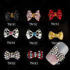 10Pcs Nail Art Bowknot Decoration Crystal Alloy Rhinestones Jewelry TN191-TN196