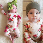 USA Newborn Baby Girls Floral Cotton Bodysuit Romper Jumpsuit Outfits Clothes