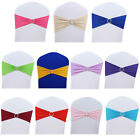 50PCS Stretch Wedding Chair Cover Band With Buckle Slider Sashes Bow Decorations