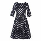Housewife Casual Vintage Polka Dots Dress Women Swing Pinup Party Prom Dress