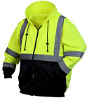 High Visibility Full ZipHooded Sweatshirt Class 3 Safety Hoodie Hi Vis viz lime
