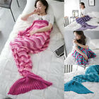 Soft Striped Mermaid Tail Handmade Crocheted Cocoon Sofa Blankets Gift For Women
