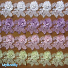 1yard Bead Flower Pearl Lace Trimming Wedding Dress Ribbon Applique Sewing Craft