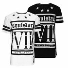 Mens Soulstar Longline Designer T-Shirt Monochrome Fashion Print Side Zips Top