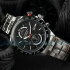 Curren Black Men's Silver Stainless Steel Military Sport Quartz Watch UK STOCK