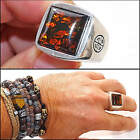Silver amber ring gemstone ring 925 sterling silver shiny ring with real amber
