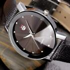 Men's Luxury Stainless Steel Leather Quartz Sports Wrist Watch Analog Waterproof