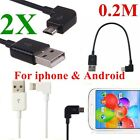 2XUSB Charger Cable Right Angle 90 Degree Fast Charging Data Cable Fr iphone HTC