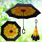 Folding C Handle Windproof Double Layer Upside Down Inverted  Reverse Umbrella