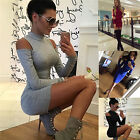 Womens Bandage Bodycon Off Shouler Long Sleeve Evening Party Cocktail Mini Dress