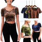 Womens Crushed Velvet T-Shirt Crop Tops Summer Clubwear Blouse Tee Short Sleeve