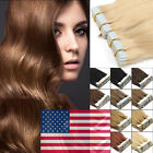 """18"""" Seamless Tape In Skin Weft 100% Remy Human Hair Extensions 20/40PCS US Ship"""