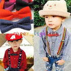 OZ Children Boy Girl Clip-on Adjustable Elastic Y-Back Braces Suspenders Bow Tie