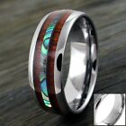 8mm Tungsten Men's Hawaiian Koa Wood & Abalone Band Ring - Engravable