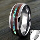 8mm Tungsten Men's Hawaiian Koa Wood & Abalone Wedding Band Ring-Engraving Avail