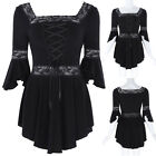 Women's Victorian Gothic Magical Renaissance Irregular Hem Cotton Top Blouse