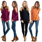 New Women High Collar Dew Shoulder T-Shirt Loose Casual Long Sleeve Blouse Tops