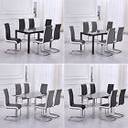 Modern Black Glass Dining Table Set 6x Leather Chairs Grey/Black&White Sides New