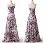 ON SALE Long Floral Chiffon Wedding Party Gowns Prom Evening Bridesmaid Dresses