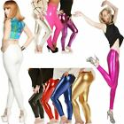 New Ladies Womens Girls DISCO Dance PVC WET Look Shiny Stretch Foil Leggings 80S