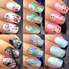 NAIL ART STICKERS WATER TRANSFERS DECALS ROSES WHITE LACE PURPLE DAISY FLOWERS