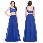 Two Pieces Blue LONG Evening Dress Party Pageant Formal Wedding Prom Gown Ball