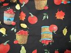 FRUIT BASKETS, PEARS,PUMPKINS, CIDER JAR FABRIC BLACK BACKGROUND BY THE HALF YD