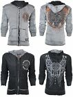 AFFLICTION Men Hoodie Sweat Shirt ZIP UP Jacket REVERSIBLE Stampede MMA UFC $98