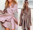 Light Purple Lavender Satin 3/4 Sleeve Cross Wrap V Neck Belt Mini Dress NWT